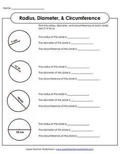 circumference area radius and diameter worksheets math. Black Bedroom Furniture Sets. Home Design Ideas