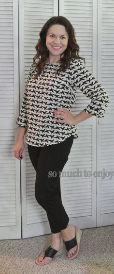 Pixley Bixby Bird Print Tab Sleeve Blouse (2)- Stitch Fix Review June 2015 www.somuchtoenjoy.com @stitchfix #stitchfix