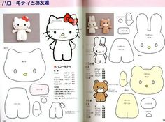 FREE Hello Kitty, My Melody and Cute Bear Sewing Pattern for Felt Plushie Softie Toy
