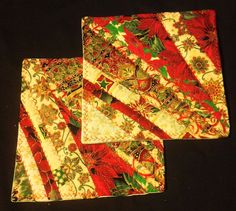 """Trivet, Heat Resistant Pad,Table Topper, Holiday, Christmas Trivet, Red Green Gold Christmas Fabric, 9"""" Sq by SakariDelights  in Alaska"""