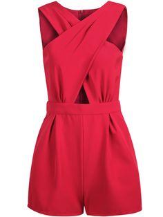 Red Sleeveless Cross Hollow Jumpsuit
