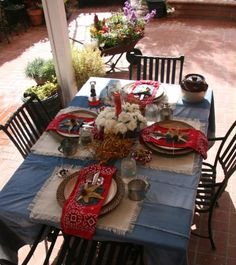Sadie Hawkins - would also work well for a farm or country theme the table cloth is re  purposed jeans