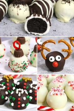 Oreo Truffles are mouthwatering bite-size treat everyone will love! These homemade oreo balls are coated in chocolate and ornamented past s. Christmas Truffles, Christmas Snacks, Christmas Appetizers, Christmas Cooking, Holiday Treats, Chocolate Sprinkles, Melted Chocolate, White Chocolate, Xmas Desserts