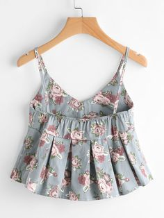 Pleated Cami Top Women Blue Sexy V Neck Floral Print Cute Peplum Summer Tops Fashion Casual Beach Draped Camisole Fall Fashion Outfits, Teen Fashion, Girl Outfits, Casual Outfits, Pretty Outfits, Cute Outfits, Fancy Tops, Crop Top Outfits, Fashion Sewing