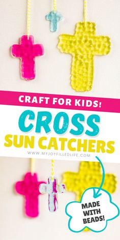 Make sun catchers with your kids this spring! They are really easy to make and you can get creative with colors and shapes. Learn how to make them at My Joy-Filled Life. #suncatcher #kidcraft #eastercross Fun Arts And Crafts, Crafts For Kids, Easter Activities For Kids, Summer Crafts, Holiday Crafts, Cross Crafts, Easter Cross, Easter Food, Easter Ideas