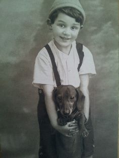 vintage photo~little boys have always loved their dogs :)