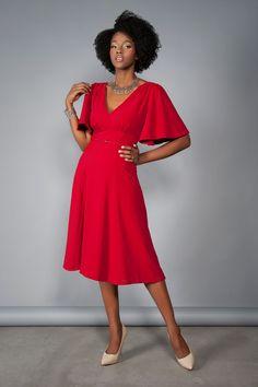 Final Sale - Laura Byrnes California Viva Dress in Red Crepe