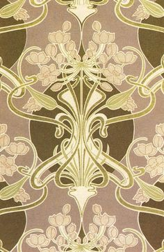 One of the French designers who produced a number of the very first pattern books across the turn of the century was that of Rene Beauclair. In 1900 he published Dessins d'Ornementation Plane en Couleurs. Interestingly it was produced simultaneously in both French and German giving some impression of the international flavour that Art Nouveau enjoyed.