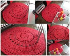 Fab rug made with Hoooked Zpagetti :) Crochet Doily Rug, Crochet Carpet, Crochet Cushions, Diy Crochet, Crochet Home Decor, Fabric Yarn, Braided Rugs, Crochet Stitches Patterns, Diy Interior