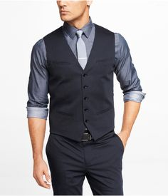 NAVY COTTON SATEEN SUIT VEST | Express