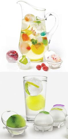 Ice Ball Molds - Create edible art in ice masterpieces by filling them with mint leaves, basil, fruits, juice, lemon or lime segments, and more!!! #healthy #fun