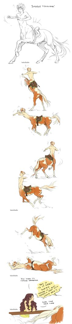 """(Open RP need her Sawyer. His name is Aerick.) """"Come on please take it off."""" I whimper. How could she do this to me? """"Alright hold still."""" I walk over to her and instead of taking it off she jumps in the saddle. """"No, stop please!"""" I paw my front hooves nervously."""