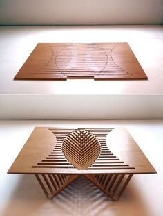 Rising Table, in bamboo caramel design by Robert  Van Embricqs, Architectural and Furniture Design