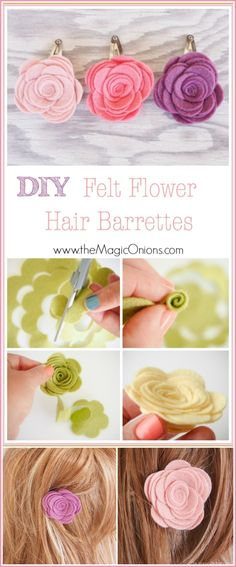 awesome DIY Felt Flower Hair Barrettes for Spring - The Magic Onions Felt Flowers, Diy Flowers, Flowers In Hair, Fabric Flowers, Felt Flower Diy, Felt Hair Clips, Flower Hair Clips, Hair Barrettes, Hairbows