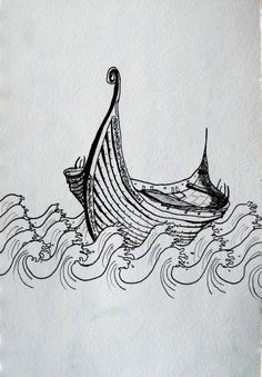 "Viking ship art print - ""Drifting across the seas"" by Marie-Noëlle Wurm"