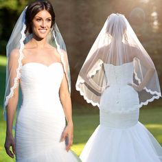 1.5 Meters Short Wedding Veils with Comb Lace Edge Ivory White
