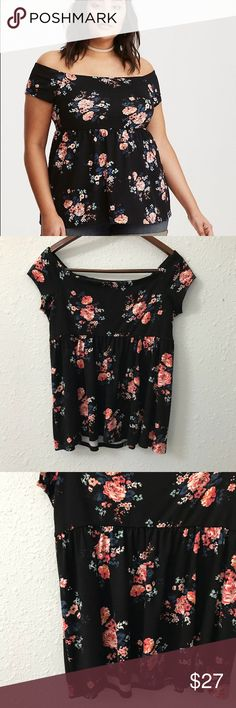 NWOT torrid floral off shoulder baby doll top sz M Give them the bold shoulder; this babydoll top makes it easy. The black knit off shoulder design is a little bit retro, a whole lot of garden-friendly with a multi-color floral print. The babydoll cut is totally flattering, and keeps you in a swing state. A no-slip elastic lining keeps the look fitted on your shoulders. This piece is currently sold out online! It is a torrid 00 which is the equivalent of a size M. Bundle with other items…