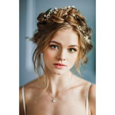 10 Flower Crown Hairstyles for Any Bride ❤ liked on Polyvore featuring hair, hairstyles, backgrounds, people and pics