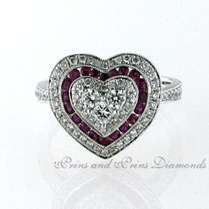 There are 20 = round cut rubies and 68 = GH/VS – SI round brilliant cut diamonds channel and pavé set in a heart shaped design, set in white gold Design Set, Shape Design, Heart Shapes, Heart Ring, Gemstone Rings, Channel, Diamonds, White Gold, Jewelry