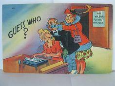 Vintage Linen Funny Postcard 1940s