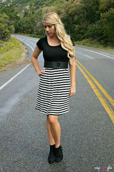 Black and White Stripe Dress -Cozy Couture #dress #stripes