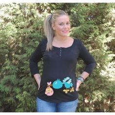 "Camiseta divertida para embarazada manga codo ""Cigúeña Chica"""