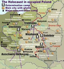 This map shows all German Nazi extermination camps (or death camps), prominent concentration, labor and prison camps, major prewar Polish cities with ghettos set up by Nazi Germany, major deportation routes and major massacre sites