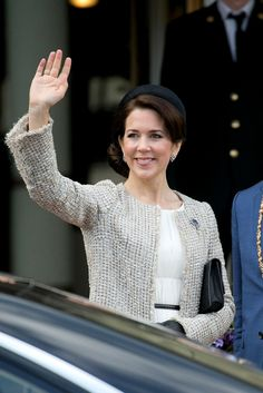 Princess Mary looks stunning at Queen Margarethe's 75th birthday celebrations:Princess Mary accessorised her cream outift with black accessories, including a thin black belt, clutch and a black pillbox hat.