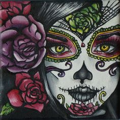 Day of the Dead  Art Rockabilly Pin Up girl Hair Dia De Los Muertos  Lowbrow Tattoo art Print 8 by 8