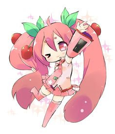 Chibi Sakura Miku. kind of reminds me of a cherribi. lol