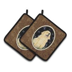 Carolines Treasures Golden Retriever Pair Of Pot Holders Golden Retriever Gifts, Christmas Tablescapes, Hot Pads, Black Trim, Pot Holders, Kitchen Decor, Great Gifts, Pairs, Thanksgiving