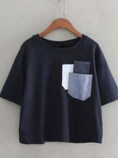 Shop Dark Blue Short Sleeve Pockets Casual T-shirt online. SheIn offers Dark Blu… Shop Dark Blue Short Sleeve Pockets Casual T-shirt online. SheIn offers Dark Blue Short Sleeve Pockets Casual T-shirt & more to fit your fashionable needs. Crop Top Outfits, Cute Casual Outfits, Casual T Shirts, Stylish Outfits, Sewing Clothes, Diy Clothes, Teen Fashion Outfits, Fashion Dresses, Vetement Fashion