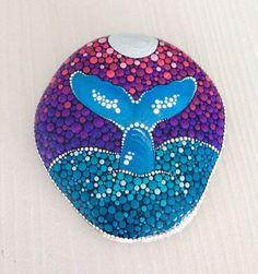 Big Dot Art Whale stone - Painted stone painted rock Fairy garden marker decoration stone art dotilism blue