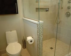 glass shower, half wall next to the toilet