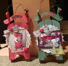 make a large sled for Christmas decor with a picture frame