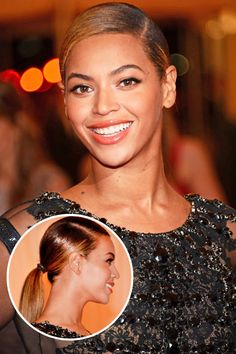 Beyoncé - Lacquered ponytail and extreme side-part are simple yet sophisticated.