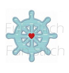 Navigation wheel applique machine embroidery design by FunStitch