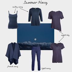 Summer's navy is a very particular dark smoky navy, often known as French Navy. Winter and Spring's brighter navy shades can look overpowering on summers, you need your navy to have that slightly softened grey tone to look your best. However, if it comes to compromise, go for Winter's navy rather than giving into the lure of black, which will look so harsh and stark against your skin.