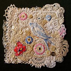 BooDilly's Bluebird of Happiness (Wall Hanging) Made from deconstructed and reconstructed vintage fiber pieces including crochet, lace, and embroidery. Inspired by the return of the bluebirds to our yard every spring. Vintage Embroidery, Embroidery Art, Embroidery Stitches, Embroidery Patterns, Fabric Art, Fabric Crafts, Fabric Journals, Textiles, Embroidery Transfers