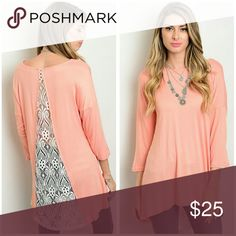 EMBRACE Tunic Size S, M, L Gorgeous Tunic with Lace back panel, really pretty, wear with your favorite jeans, leggings, or shorts Sizes available S, M, L Price Firm unless bundled Tops Tunics
