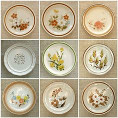 Homegrown Wedding thrifted plate collection Vintage Dinnerware, Vintage Kitchenware, Vintage Plates, Vintage China, Mismatched China, Outdoor Table Settings, Dinning Room Tables, Handmade Invitations, Kitchen Dishes