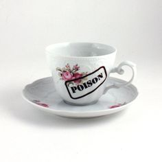 SALE Poison Stamp Flowers Cup Saucer Funny by MoreThanPorcelain, €20.00