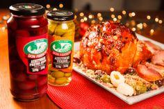 Tender com caramelo de lichia Don Fidencio e farofa natalina com azeitonas Don Fidencio. Receita do Chef Eduardo Maya.