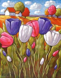 Tulips Original Painting, Spring Flowers Folk A rt Rural Garden Landscape, 11x14 Acrylic on Canvas Artwork by Artist Cathy Horvath Buchanan. https://cathyhorvathbuchanan.com/collections/original-painting/products/tulips-original-painting-spring-flowers-folk-art-rural-garden-landscape-11x14-artwork