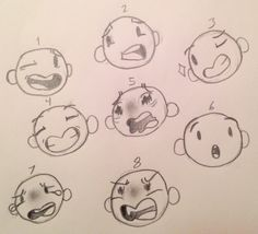 I've been spending a lot of time trying to figure out my art style and how to make my drawings look better so I decided to practice different emotions/ facial expressions 1. Laughing 2. Concerned I guess 3. Winking or like a flirty kind of face 4. Smiling 5. Terrified 6. Surprised I guess 7. Crying 8. Furious