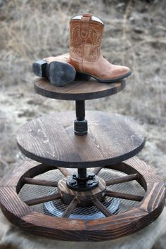 Rustic Solid 3-Tier Stand with Wagon Wheel  on Etsy, $125.00