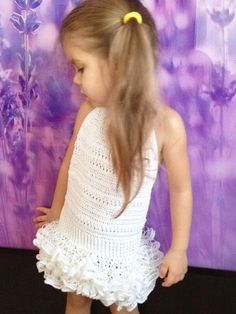 Crochet white toddler dress 2T-5T/ Ruffles crochet by ElenaVorobey