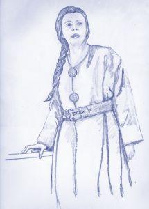 Reproducción de una vestimenta femenina merovingia (s.VI d.C.)