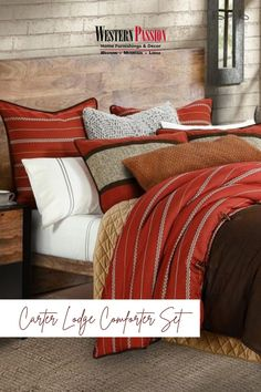 It's time to change your bed linens to your favorite autumn shades. #WesternPassion #UnleashPassionForWestern #westernfurniture #southwesterndecor #southwesternstyle #texasfurniture #westernbedding #lodgebedding #comforter Twin Comforter Sets, King Comforter, Rustic Comforter, Western Bedding, Bedding Collections, Luxury Bedding, Comforters, Pillows, Sophisticated Style