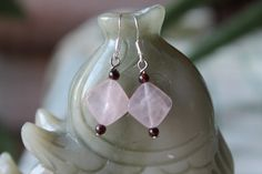 Pink Square Rose Quartz Earrings sterling by JianBeadsJewelry, $12.00